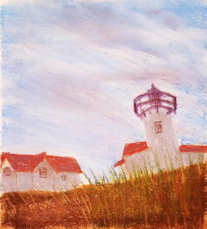pastel drawing of a lighthouse