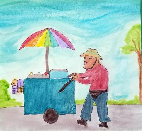Watercolor of a corn vendor and his cart