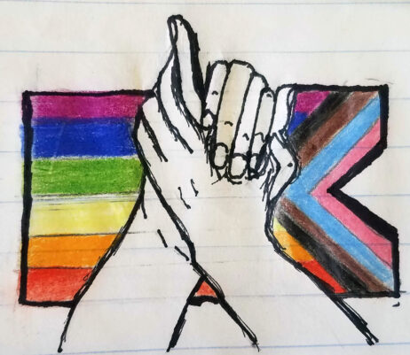 two hands clasped in front of a biopic lgbtq flag