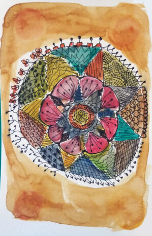 Ink and watercolor drawing of a mandala