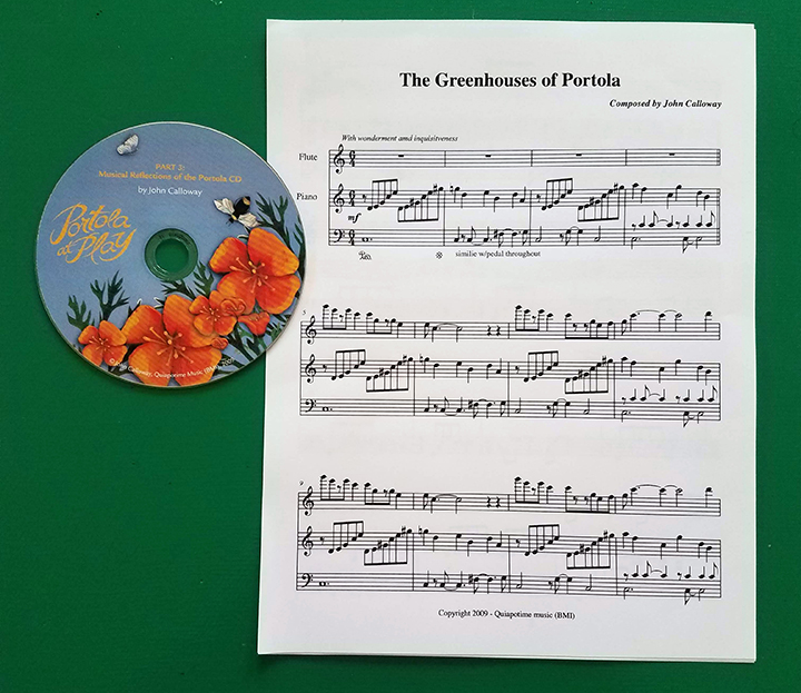 """A CD with orange poppies on it called """"Musical Reflections of the Portola and a musical score of John Calloway's composition """"The Greenhouses of the Portola"""""""