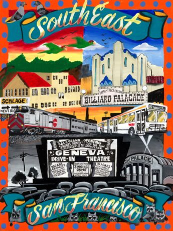 Icons of Southeast San Francisco including the Cow Palace, Schlage Lock, a muni bus and many raccoons