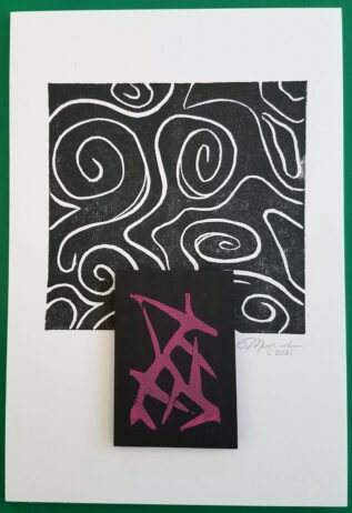 Two mounted prints, one a. black and white abstract and the other red thorns printed on black paper